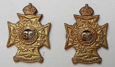 Canadian Mount Royal Rifles Other Ranks Collar Badges Matching Pair