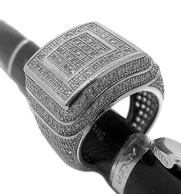 Mega Chunky Millionaires HipHop Bling Mens Silver Plated Ring