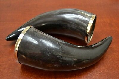 "2 Pcs Natural Black Smooth Water Buffalo Horn Drinking Cup 6"" - 7"" #8017"