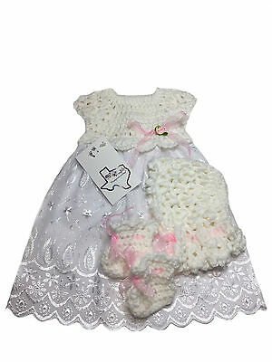 MiC Crafts Handmade Crochet Baby 3Pc Gown Bonnet Shoes Micro Preemie White/pink