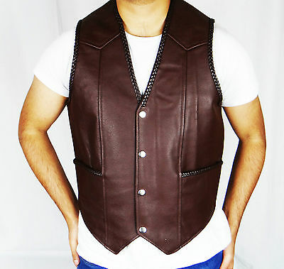 Men's High Quality Genuine Leather Waistcoat/Vest/ Motorbike Motorcycle (Brown)