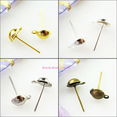 60Pcs Half Ball Stud Earring Posts Earwire Gold Dull Silver Bronze Plated 8x14mm