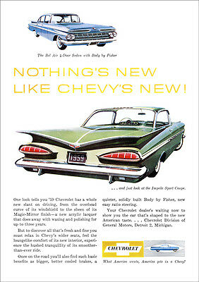 Chevrolet 59 Impala Retro A3 Poster Print From Advert 1959