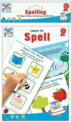 LEARN TO WRITE A5 Wipe Clean Worksheets+ PEN Reusable BOOK Practise Pad kids
