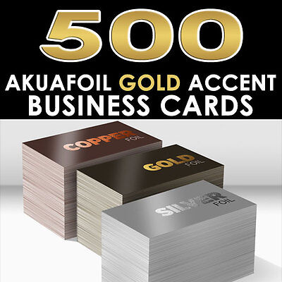 Personalized Gold Foil Accent 500 Full Color Glossy Akuafoil Business Cards