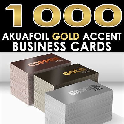 Personalized Gold Foil Accent 1000 Full Color Glossy Akuafoil Business Cards