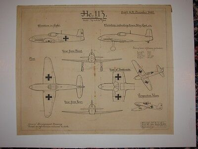 Henkle 113, 1940  Original RAF Arrangement Drawing. Extremely rare. He113