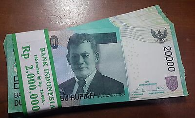 Indonesian 20,000 X 100 Pieces (PCS) = 2 Million Rupiah,IDR,Bundle,GEM UNC Notes