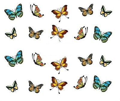Nail Art Decals Transfers Stickers Multicoloured Butterflies (A-348)