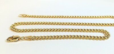 18k Solid Yellow Gold Italian Flat Curb/Link Unisex Chain Necklace, 20Inches. 8G
