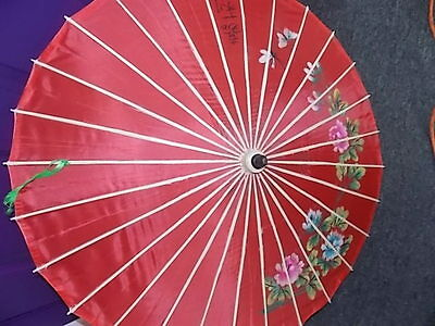 Chinese-Old Silk -Hand Painted- Flowers & Butterflies-Signed-Weddings- Dancing