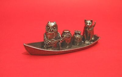 The Owl And The Pussycat Thimble Set Diorama of Collectible Pewter Thimbles