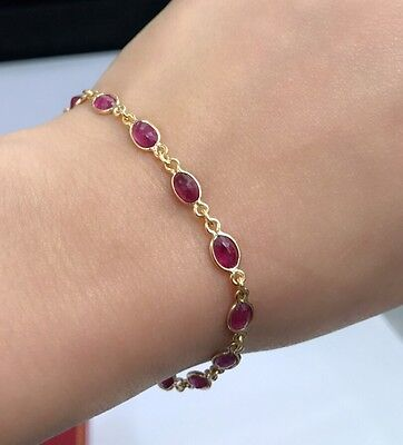 14k Solid Yellow Gold Cute Tennis Bracelet, Natural Oval Ruby 7 Inches, 7 TCW