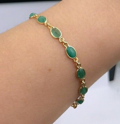 14k Solid Yellow Gold Cute Tennis Bracelet, Natural Oval Emerald 7 Inches, 6.8CT