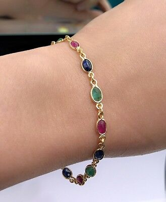 14k Solid Yellow Gold Cute Tennis Bracelet, Mix Ruby Sapphire Emerald, 7 Inches