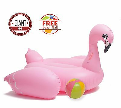 Giant Pink Flamingo Inflatable with Beach Ball - Ride On Float Floaty Floatie