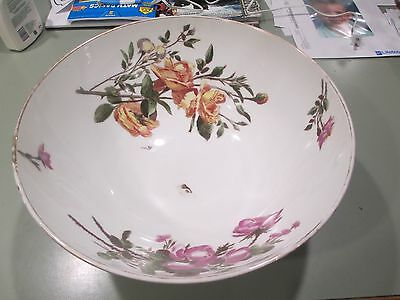 "19th century Limoges Yellow Pink Rose Punch Bowl 14"" centerpiece handpainted"