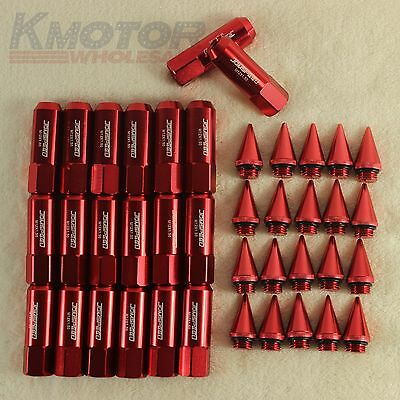 Red 20PCS M12X1.5 Cap Spiked Extended Tuner 60mm Aluminum Wheels Rims Lug Nuts