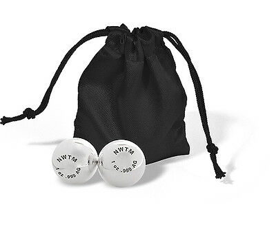 One Pair (2 oz) Of 1 oz .999 Fine Solid Bullion Silver Balls With Silk Pouch