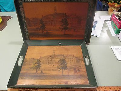 """c1930s Dartmouth College Tole Trays Campus Hanover NH 11.5 x 17"""" Green Campus"""