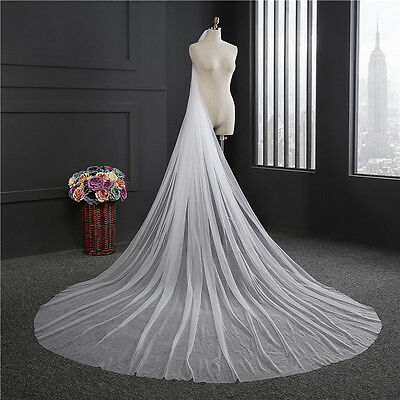 New Wedding 3m Long Cathedral Bridal veil Widen 1 Tier Cut Edge tulle with comb