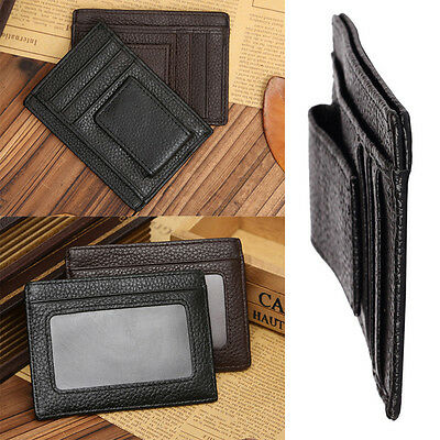 HOT Man Leather Wallet Money Clip Credit Card ID Holder Front Pocket Thin Slim