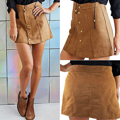 Fashion Women High Waist Lace Up Suede Leather Preppy Short Mini Skirt