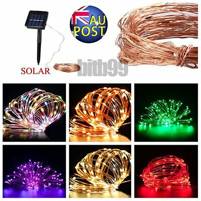 10/15/20m LED Solar Fairy String Light Outdoor Wedding Christmas Party Lamp LOT