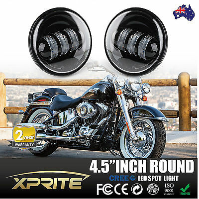 """2X Motorcycle 4-1/2"""" 4.5"""" Cree LED Auxiliary Passing Light Fog Lamps For Harley"""