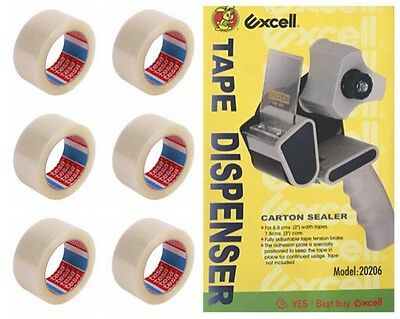 Excell Tape Dispenser Carton Sealer + 6 Tesa Clear Tape Rolls - High Quality