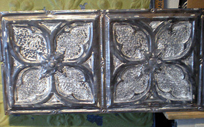 12x24 Antique Victorian Ceiling Tin Tile Gothic Quatrefoil Flower Shabby Chic