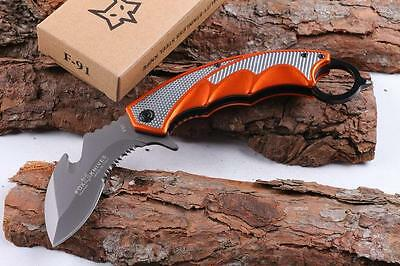 Red Outdoor Survival Camping Hunting Karambit Claw Knife Folding Blade fox