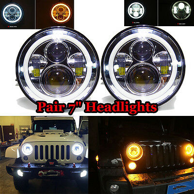 Pair 40W 7inch LED Headlights Round Hi/Lo Driving Work Light For Jeep Wrangler