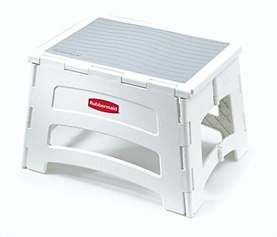 Rubbermaid RM-PL1W Folding 1-Step Plastic Stool, New, Free Shipping