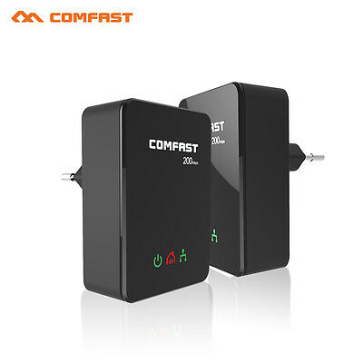 COMFAST Twin Pack 200Mbps Mini Homeplug Powerline Adapter Network Kit CF-WP200M