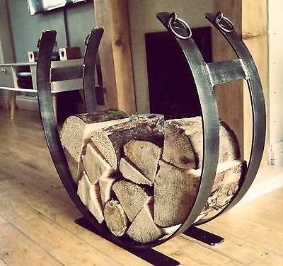 Wrought Iron Log Holder, Log Basket, Log Storage, Fire Place