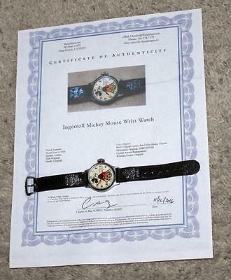 Ex:disney1934 Ingersoll Mickey Mouse Wristwatch+Leather Band&charms+Service+Coa!