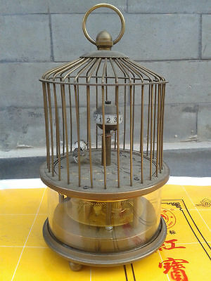 Rare brass birdcage Mechanical Table Clock Decorations
