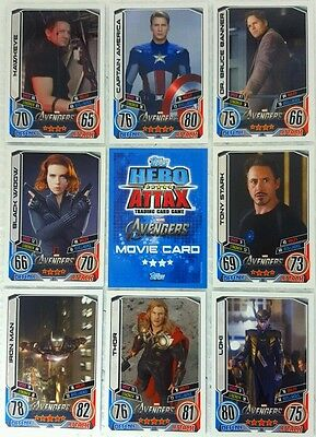 MARVEL HERO ATTAX Series 2   2012 AVENGERS 1st  MOVIE CARD SET of 32 Topps  UK