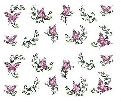 Nail Art Decals Transfers Stickers Pink Butterflies (A-357)