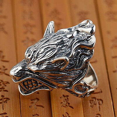 Heavy 925 Sterling Solid Thai Silver Ring Mens Biker Wolf Size 8 9 10 11 12 13