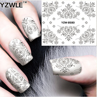 Nail Art Decals Transfers Stickers Lace Pattern (A-580)