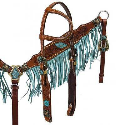 Showman Argentina Leather turquoise fringe headstall and breast collar set! TACK
