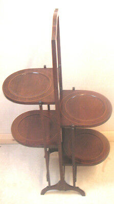 "Exquisite Edwardian Mahogany Folding Four Tiers Cake Stand VGC 35""H 19""W 10""D"