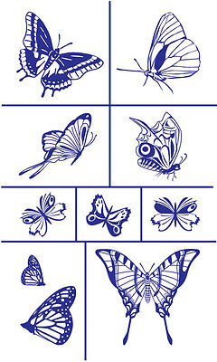 Armour Rub 'n' Etch Glass Etching Stencil Set ~ Butterflies 2