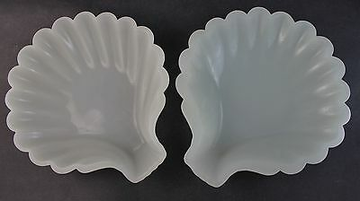Pair Antique French Opaline Art Glass Large Shell Serving Plates Candy Dishes