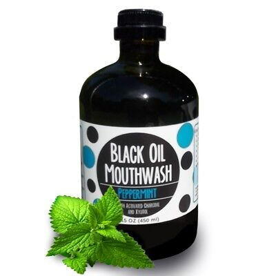 Black Oil Mouthwash for Oil Pulling - Xylitol & Charcoal Peppermint Glass bottle