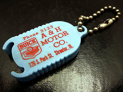 Vintage Buick Dealer Advertising Key Chain A&H Motor Streator IL