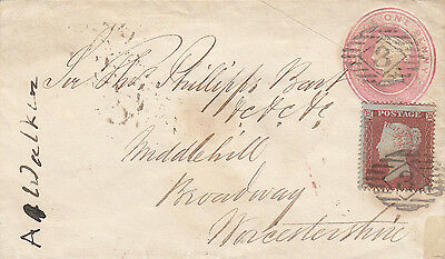 1854, 1 d red, Die I, perf 16, small embossed QV 1 d pink p/s/cover, to Broadway