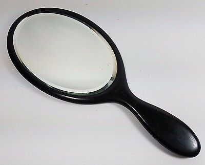 Antique Edwardian Ebony Large Oval Dressing Table Hand Mirror France 12""